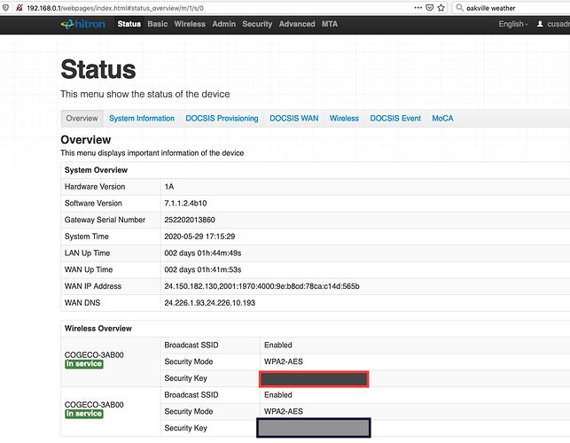 Router admin console