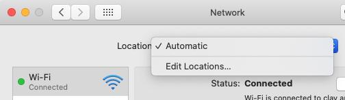 Location menu in macOS Catalina Network Preferences