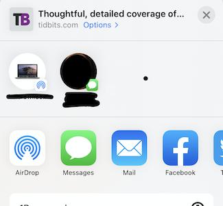 iOS 14 sharing pane